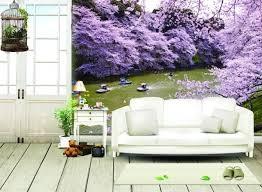 Giáy dán tường phòng khách trẻ trung với tông màu lãng mạn