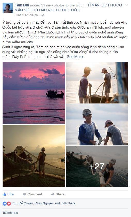 Chia sẻ của nhiếp ảnh gia Tâm Bùi nhận được nhiều quan tâm của đông đảo cư dân mạng