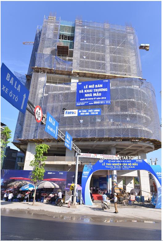 Hiện tòa nhà đã xây dựng tới tầng 16, vượt tiến độ thi công gần 3 tháng. Hình ảnh chụp tại sự kiện sáng 24/7/2016