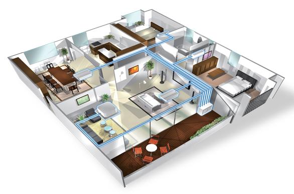 Mô hình lắp đặt hệ thống điều hòa Multi cho căn hộ chung cư.