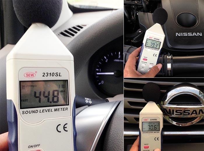 Nissan Navara EL có độ cách âm khá tốt khi mà ở chế độ không tải (tốc độc động cơ 800 vòng/phút), độ ồn đo được ở khoang động cơ là 79,3 dB, ở mũi xe là 70,6 dB và trong khoang lái là 44,8 dB.