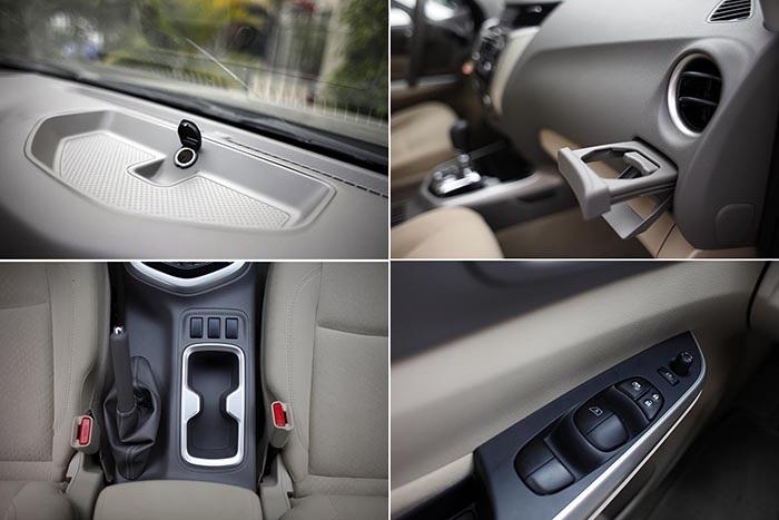 Những thiết kế đảm bảo sự tiện dụng trên Navara EL bao gồm các hốc để đổ bố trí trên bảng điều khiển (có kèm ổ cắm điện), phía trước khe gió hàng ghế lái, hệ thống điều chỉnh/gập gương chiếu hậu bằng điện