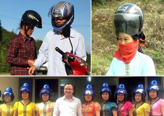 So sánh chiếc mũ bảo hiểm được thiết kế đặc biệt dành cho người phụ nữ Thái đen và mũ bảo hiểm thông thường