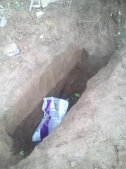 Vị trí được xác định chôn xác chị Mai Thi A. Đ.