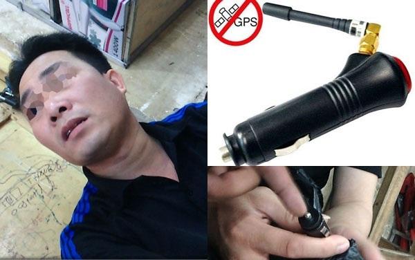 """Tiểu thương tên Cường rao bán thiết bị """"phá sóng"""" máy bắn tốc độ của CSGT (ảnh lớn) và thiết bị được cho là có khả năng """"phá sóng"""" máy bắn tốc độ (ảnh nhỏ) - Ảnh cắt từ clip"""