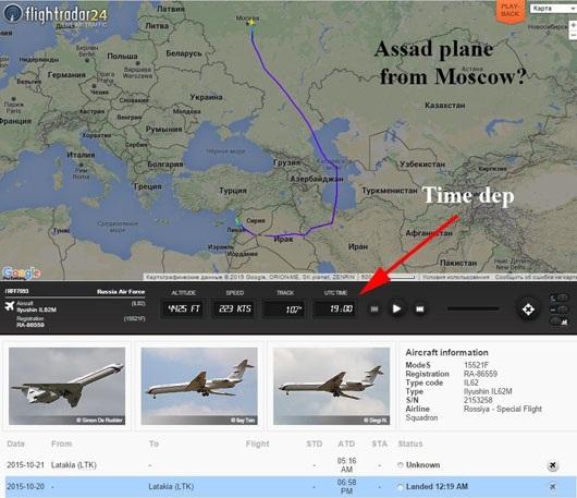 Tuyến đường bay từ Moskva về Syria của phái đoàn Syria. Ảnh: LiveJournal.com