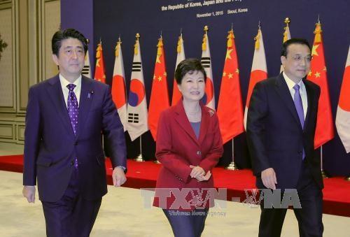 Tổng thống Hàn Quốc Park Geun-hye (giữa) cùng Thủ tướng Trung Quốc Lý Khắc Cường (phải) và Thủ tướng Nhật Bản Shinzo Abe (trái) đã có cuộc gặp thượng đỉnh ba bên đầu tiên sau hơn ba năm qua. Ảnh: Yonhap/ TTXVN