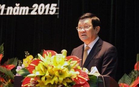 Chủ tịch nước Trương Tấn Sang trao đổi tại Đại hội Hội Khoa học Lịch sử Việt Nam sáng nay. Ảnh: Giáo dục Việt Nam