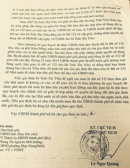 Công văn trả lời bà Yếm của UBND TP Cao Bằng.