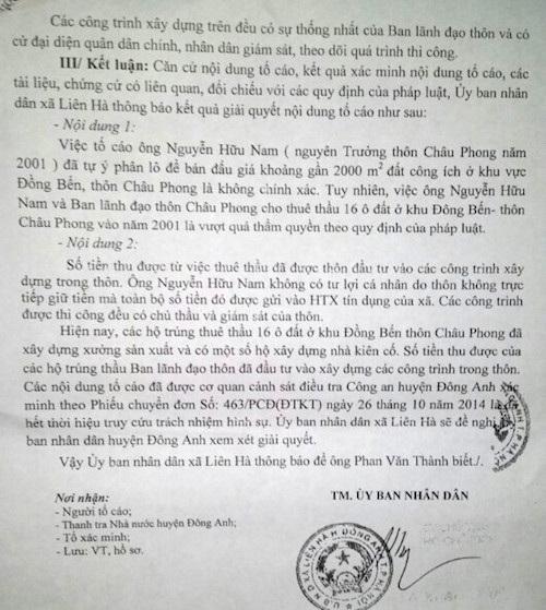Kết luận của UBND xã Liên Hà về hành vi sai phạm của ông Nguyễn Hữu Nam không được người dân đồng thuận.
