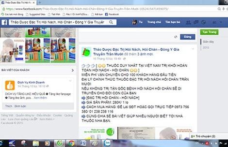 """Hình ảnh quảng cáo lọ thuốc """"thần dược"""" giá rẻ đăng tải trên Facebook. Ảnh: HỒNG TRÂM"""
