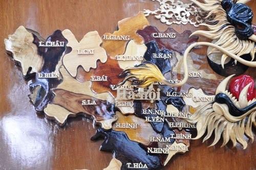 Ngắm bản đồ Việt Nam được trang trí bằng 70 loại gỗ - 2