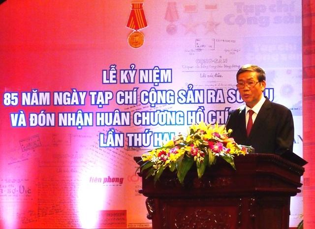 Đồng chí Đinh Thế Huynh, Ủy viên Bộ Chính trị, Bí thư Trung ương Đảng, Trưởng ban Tuyên giáo Trung ương phát biểu tại buổi lễ (Ảnh: HN)