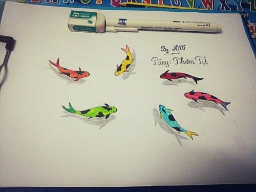 Bức họa đàn cá Vũ vẽ tặng cô bạn