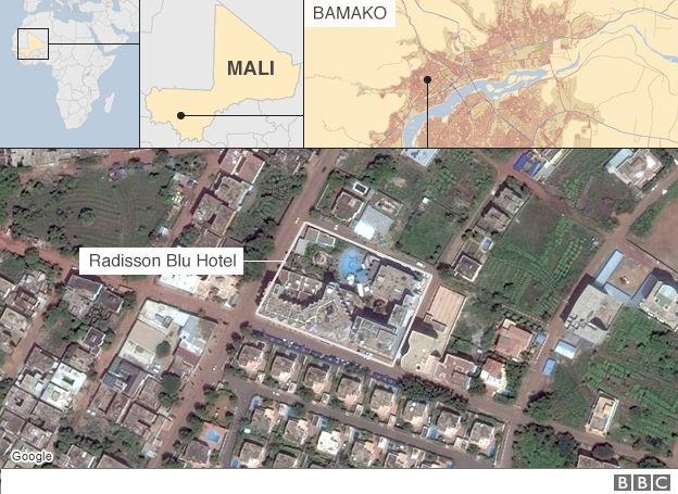 Bản đồ khách sạn Radisson Blue tại thủ đô Bamako, Mali, nơi 170 người bị các tay súng Hồi giáo bắt làm con tin ngày 20/11 (Ảnh: Mapbox)