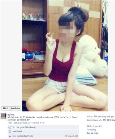 Ảnh câu like trên Facebook của hotgirl B.M..