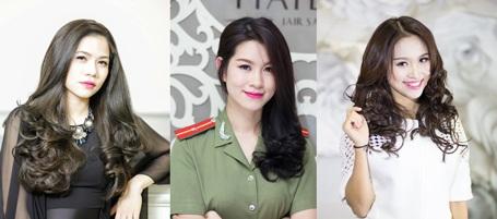 Salon Hải Bún là nơi được rất nhiều các Sao trong showbiz Việt tin tưởng gửi gắm mái tóc. Từ trái qua: Ca sỹ Mỹ Dung, Diễn viên Huyền Trang, MC Vân Hugo.