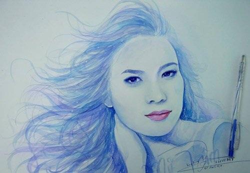 Giọng ca Họa mi tóc nâu xinh đẹp lộng lẫy qua nét vẽ của 9x Tiền Giang