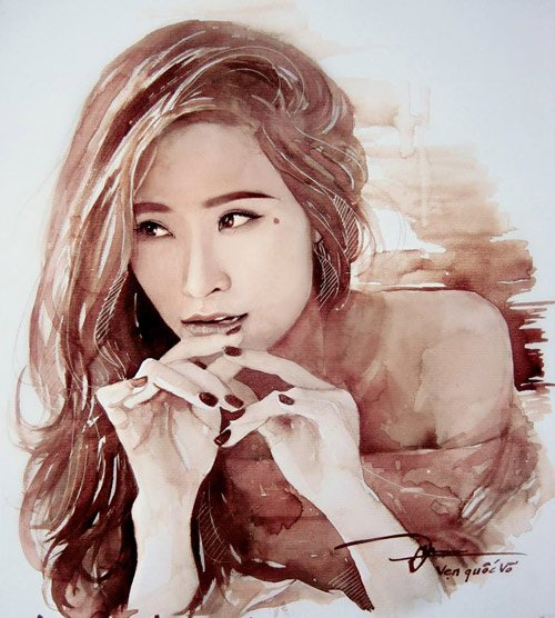 Bức tranh phác họa chân dung ca sĩ Đông Nhi được Quốc Vẹn vẽ bằng cà phê