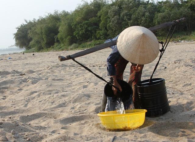 Tưới nước để tạo độ ẩm cho đậu xanh nẩy mầm.