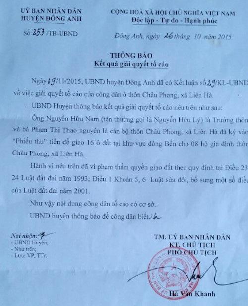 UBND huyện Đông Anh kết luận tố cáo của người dân là có sở sở nhưng chưa đưa ra hình thức xử lý với ông Nguyễn Hữu Nam và hiện ông này vẫn tại vị trưởng thôn.