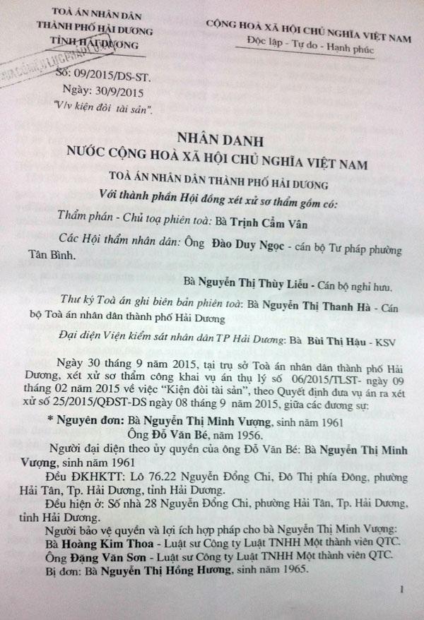 Bà Nguyễn Thị Minh Vượng cho rằng bản án sơ thẩm của Tòa án TP. Hải Dương có nội dung thiếu khách quan và vi phạm tố tụng nghiêm trọng.