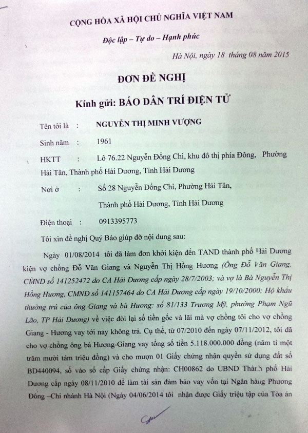 Đơn của bà Nguyễn Thị Minh Vượng phản ánh sự việc đến báo Dân trí.