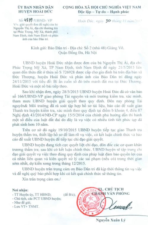 Công văn hồi âm của UBND huyện Hoài Đức gửi báo Dân trí về vụ sổ đỏ trên đất ma.