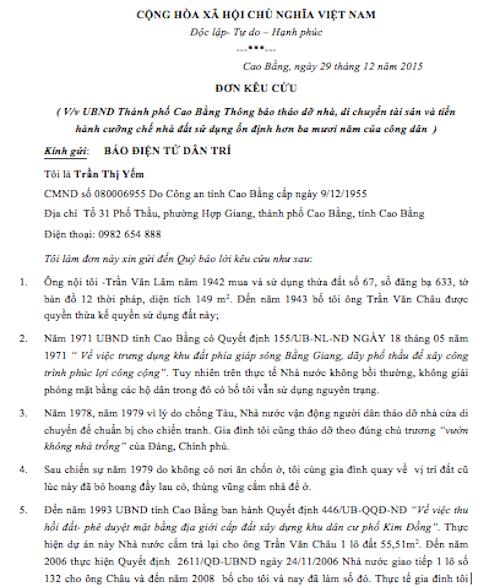 Đơn kêu cứu bà Trần Thị Yếm gửi báo Dân trí.