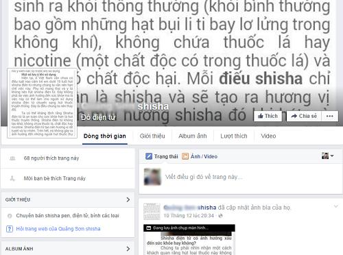 Có hẳn một trang facebook tại xã Quảng Sơn được lập ra để bán shisha.