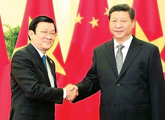 chủ tịch nước Trương Tấn Sang và Chủ tịch Trung Quốc Tập Cận Bình tại cuộc hội đàm.