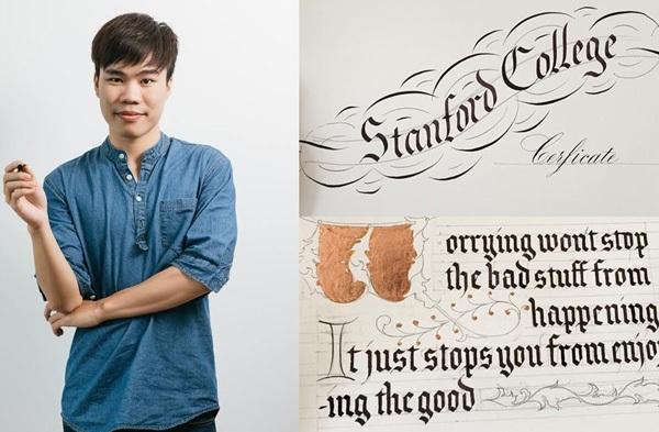 Chàng trai trẻ Đào Huy Hoàng với đam mê nghệ thuật calligraphy.