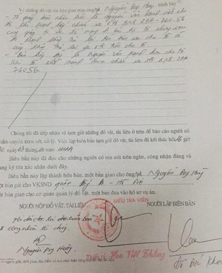 Biên bản tạm giữ đồ vật, tài liệu được Công an quận Đống Đa lập.