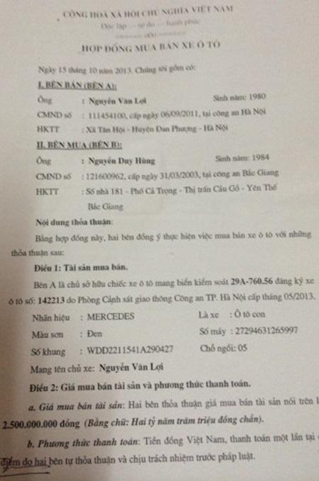 Hợp đồng mua bán chiếc xe ô tô giữa anh Hùng và anh anh Nguyễn Văn Lợi.