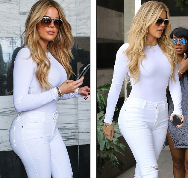 Khloe Kardashian bốc lửa với cây đồ trắng - 10