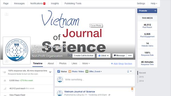 Giao diện Vietnam Journal of science trên facebook.