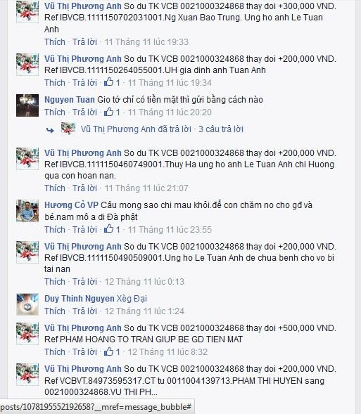 Rất nhiều nhà hảo tâm đã tin tưởng chuyển cho FB Vũ Thị Phương Anh tiền để giúp anh Lê Tuấn Anh, nhưng đã hơn 1 tháng bà Phương Anh vẫn cầm tiền của mọi người ủng hộ mà không chịu đi trao
