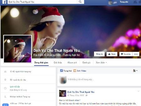Một trang Facebook với gần 15.000 thành viên chuyên cung cấp dịch vụ cho thuê người yêu.