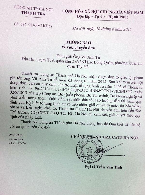 Thanh tra Công an TP. Hà Nội thông báo đã chuyển đơn cho Thủ trưởng Cơ quan CSĐT - Công an quận Bắc Từ Liêm xem xét, xử lý theo quy định của pháp luật,