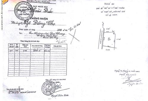 Cuốn sổ đỏ mang tên ông Ngô Đăng Thọ tại thửa đất số 75.
