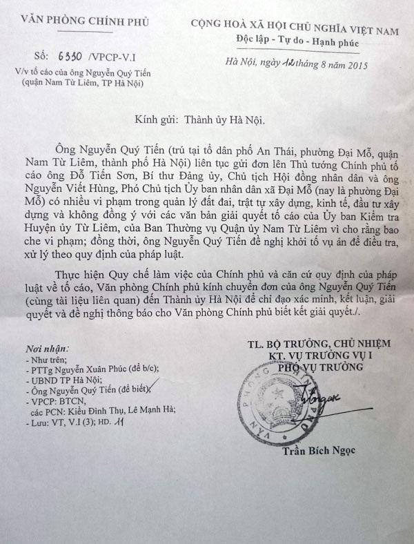 Công văn của Văn phòng Chính phủ gửi Thành ủy Hà Nội đề nghị xem xét, giải quyết dứt điểm tố cáo của công dân phường Đại Mỗ.
