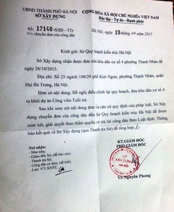 Sở Xây dựng ban hành văn bản gửi Sở QHKT đề nghị xem xét kiến nghị của khu dân cư số 4 phường Thanh Nhàn.