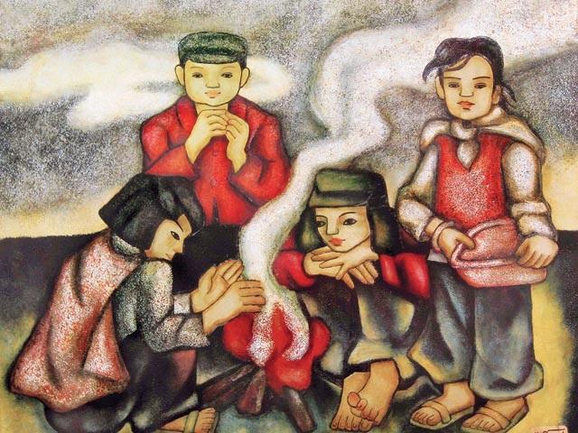Tranh: Sưởi lửa (sơn mài).  Ảnh: Nguyễn Thị Hiền