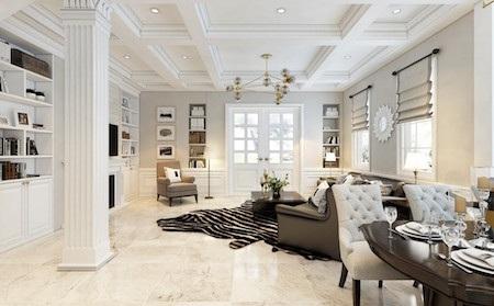 Tầng 1 của biệt thự gồm có phòng khách rộng 40m2, được trang trí theo phong cách châu Âu với lò sưởi làm trung tâm phòng khách.