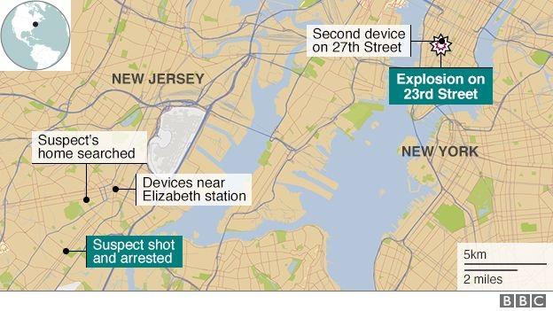 Nghi phạm bị bắt giữ tại thành phố Linden, bang New Jersey (Đồ họa: BBC)