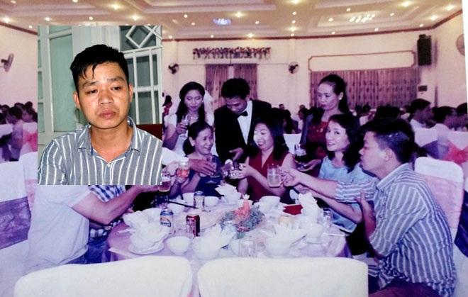 """Hình ảnh """"khách lạ trong tiệc cưới"""" (Kiều Phước Sơn mặc áo kẻ sọc) bị vô tình ghi lại tố kẻ mạo danh trà trộn vào đám cưới, sự kiện để trộm cắp tài sản."""