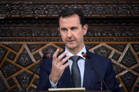 Tổng thống Syria Bashar al-Assad phát biểu trước Quốc hội Syria đầu tháng 6. (Ảnh: SANA)
