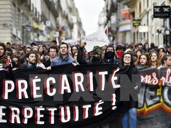 Người dân tham gia biểu tình tại Nantes, miền tây Pháp ngày 9/3. (Nguồn: AFP/TTXVN)