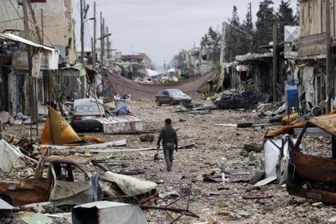 Một thị trấn tại Syria hoang tàn sau khi rơi vào tay IS. Ảnh: Reuters.