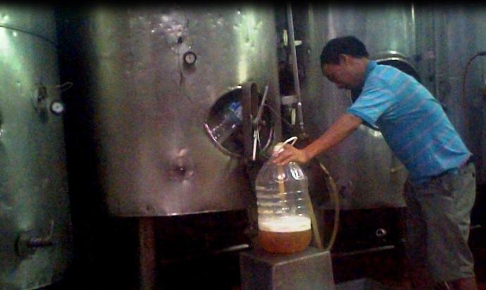 Người đàn ông đang rót bia khẳng định bia của xưởng vẫn nhập vào các quán bia hơi Hà Nội với số lượng lớn